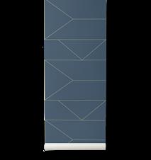 Lines Tapet Dark Blue