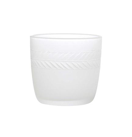 Lagerkrans, lysestage i matteret håndgraveret glas