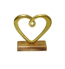 Hedy Hjerte gullfarget aluminium trefot 17x16x5 cm