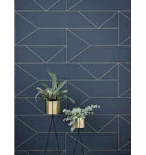 Lines Tapet Dark Blue