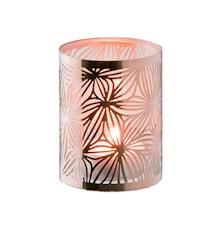Lykt kobber med glassrør mønster høyde 7,5 cm