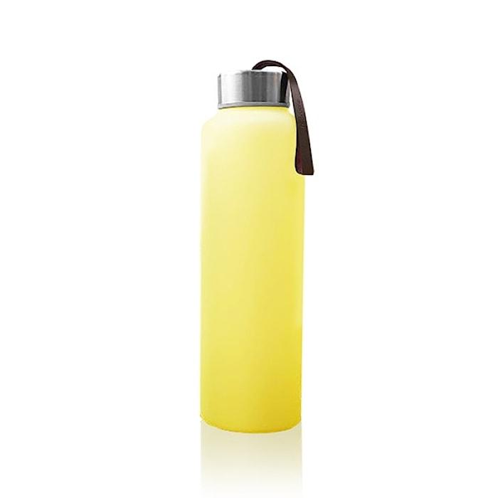 Vattenflaska i Glas med Splitterskydd Gul