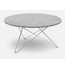 Outdoor O Table Granitt med Rustfri Stålbein Ø80