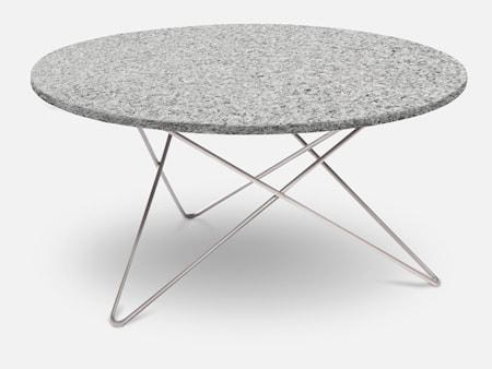 Outdoor O Table Granit m/rustfrie stålben Ø80 cm