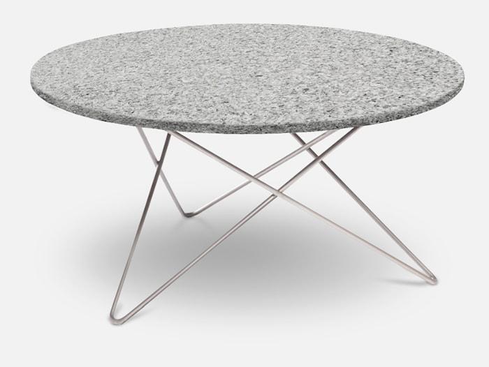 Outdoor O Table Granitt med Rustfri Stålbein Ø80