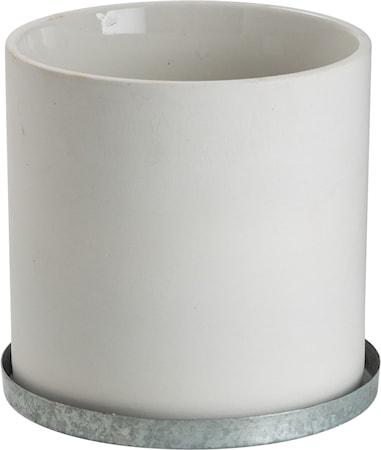 Kruka med zinkfat 12 cm – Vit