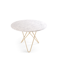 Large O Table Mat Hvid Marmor m/messingramme Ø100 cm