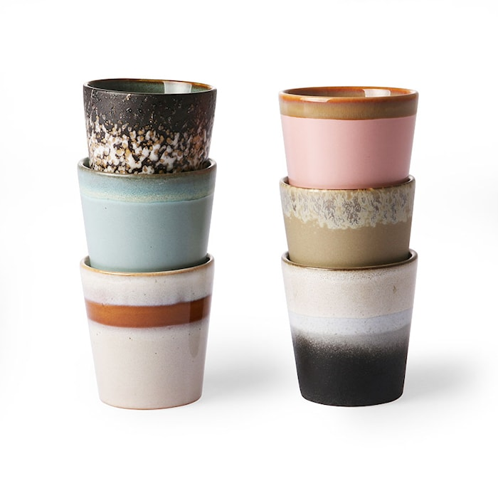 70er Jahre Keramikbecher 6er-Set