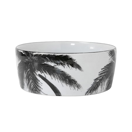 Jungle' Porselenskål med palmeblad Svart og Hvit