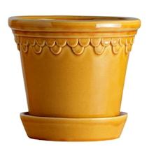 Köpenhamn Kruka med fat Glazed Yellow Amber 16 cm