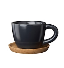 Espresso cup 10 cl with wooden saucer Graphite grey