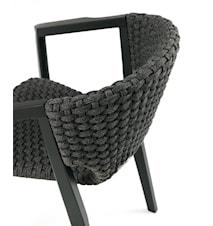 Knit stol med armstöd