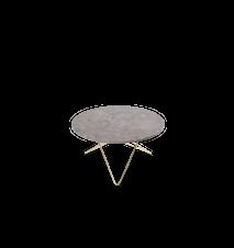 O Table Spisebord Messing/Grå Marmor Ø80