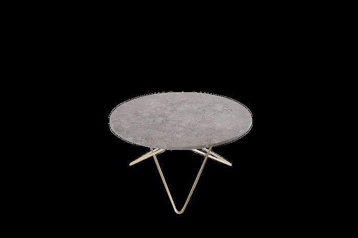 O Table Matbord Mässing/Grå Marmor Ø80