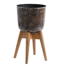 Krukke på stander, medium, stained/træ
