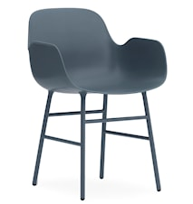 Form Stol med armlene stål - Blå