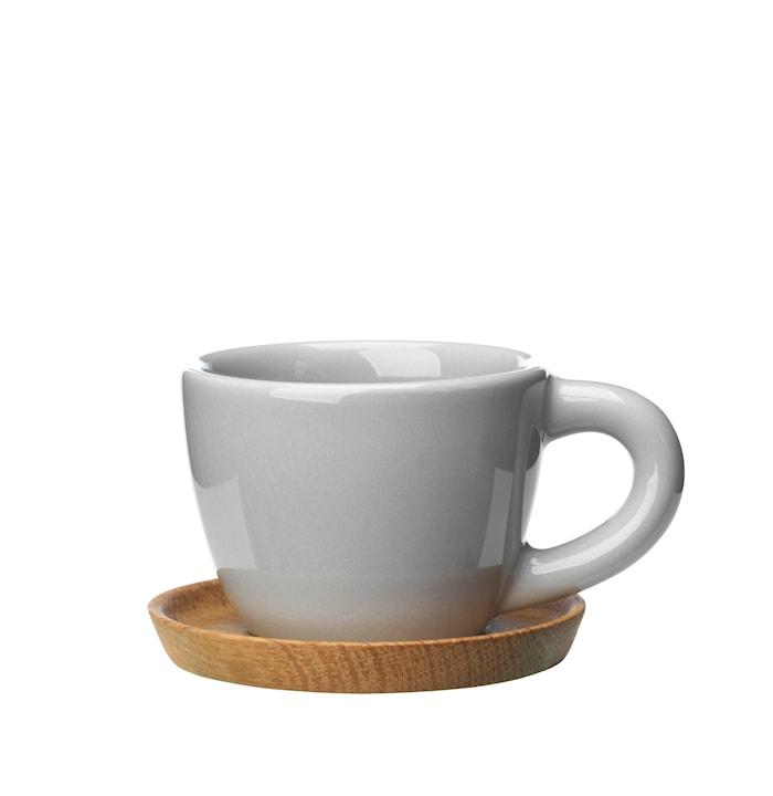 Espressokopp 10 cl med träfat kiselgrå blank