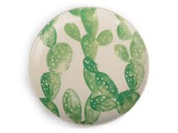 Asjett Hvit/grønn kaktus, 18,5 cm