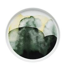 Oiva/sääpäiväkirja Tallrik Vit/grön/gul 20 Cm