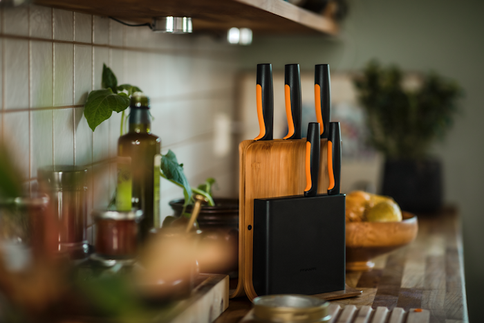 FF Knife block bamboo with 5 knives