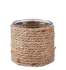 Skjuler - m. snor - Glas - Jute - Sand - Klar - D 10,0cm - H 10,0cm - Stk.