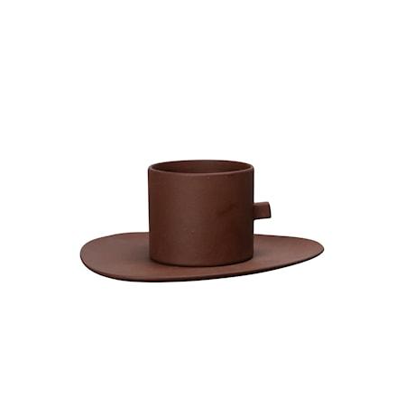 kaffekop med underkop Clay Brun