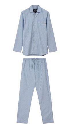 Organic Pyjamas Lt Blå/Vit Large