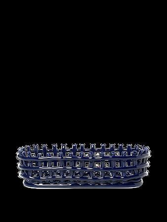 Ceramic Basket Korg Oval Blå