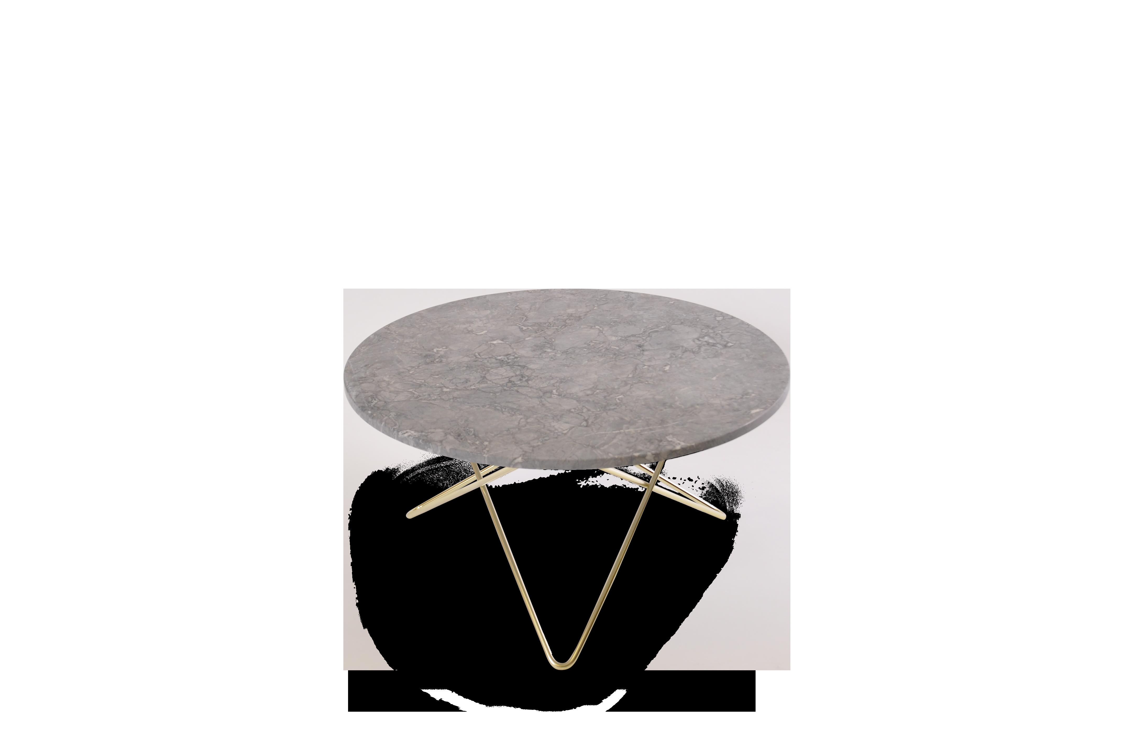 O Table Matbord MässingBrun Marmor Ø80 | Confident Living