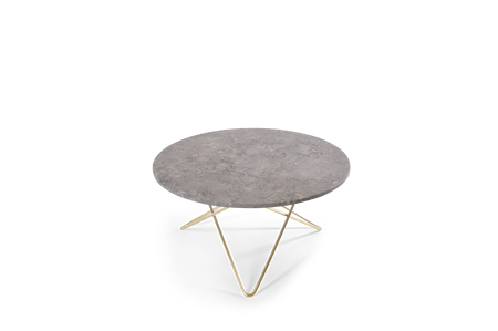 O Table Grå Marmor med Mässingram Ø80