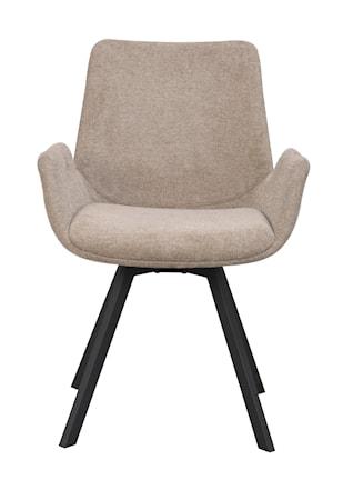 Norwell karmstol beige tyg/svarta metall snurrben