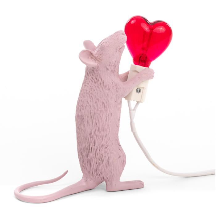 Mouse Valaisin Standing Valentine´s day - Vaaleanpunainen