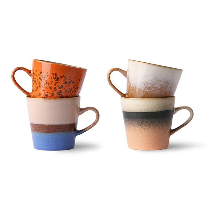 Ceramic 70's Americano Mugg 4 st