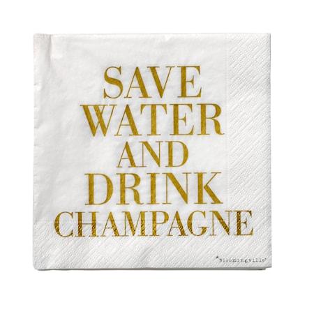 Billede af Serviet Hvid/Guld 'Drink Champagne' Papir 33x33cm 20-pak