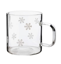 Glass Mug with Snowflakes 2 dl 4-pack