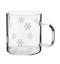 Glasskrus med snøstjerne, rommer 2 dl 4-pk