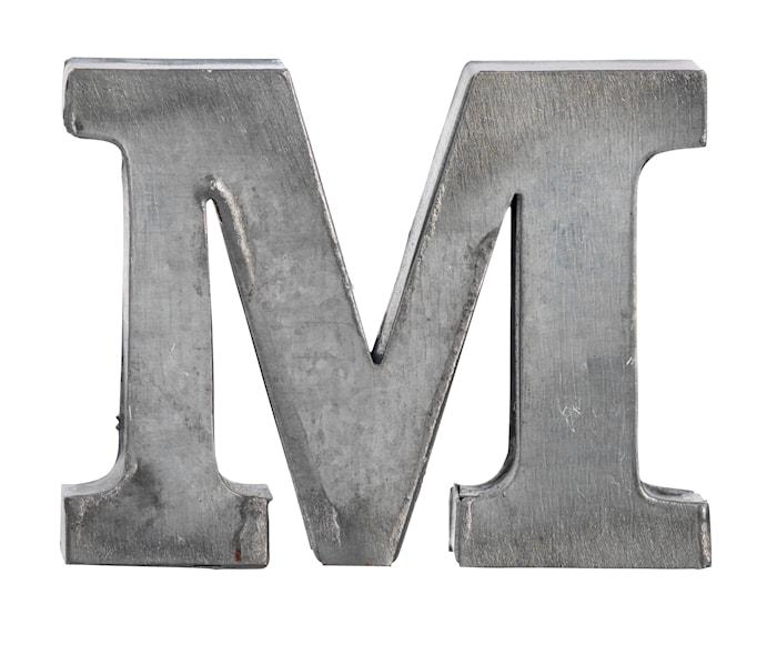 Bogstav M 5,5 cm - Zink