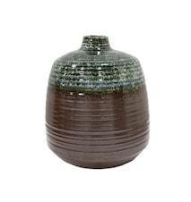 Blomvas Keramik Grön/Brun