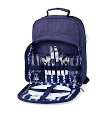 Picknickryggsäck 2 personer marinblå m tillbehör 26*17*35 cm