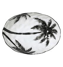 Jungle' Serveringsskål med palmblad Svart och Vit 28 cm
