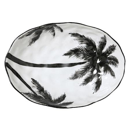 Jungle' Serveringsskål med palmeblad Svart og Hvit 28 cm
