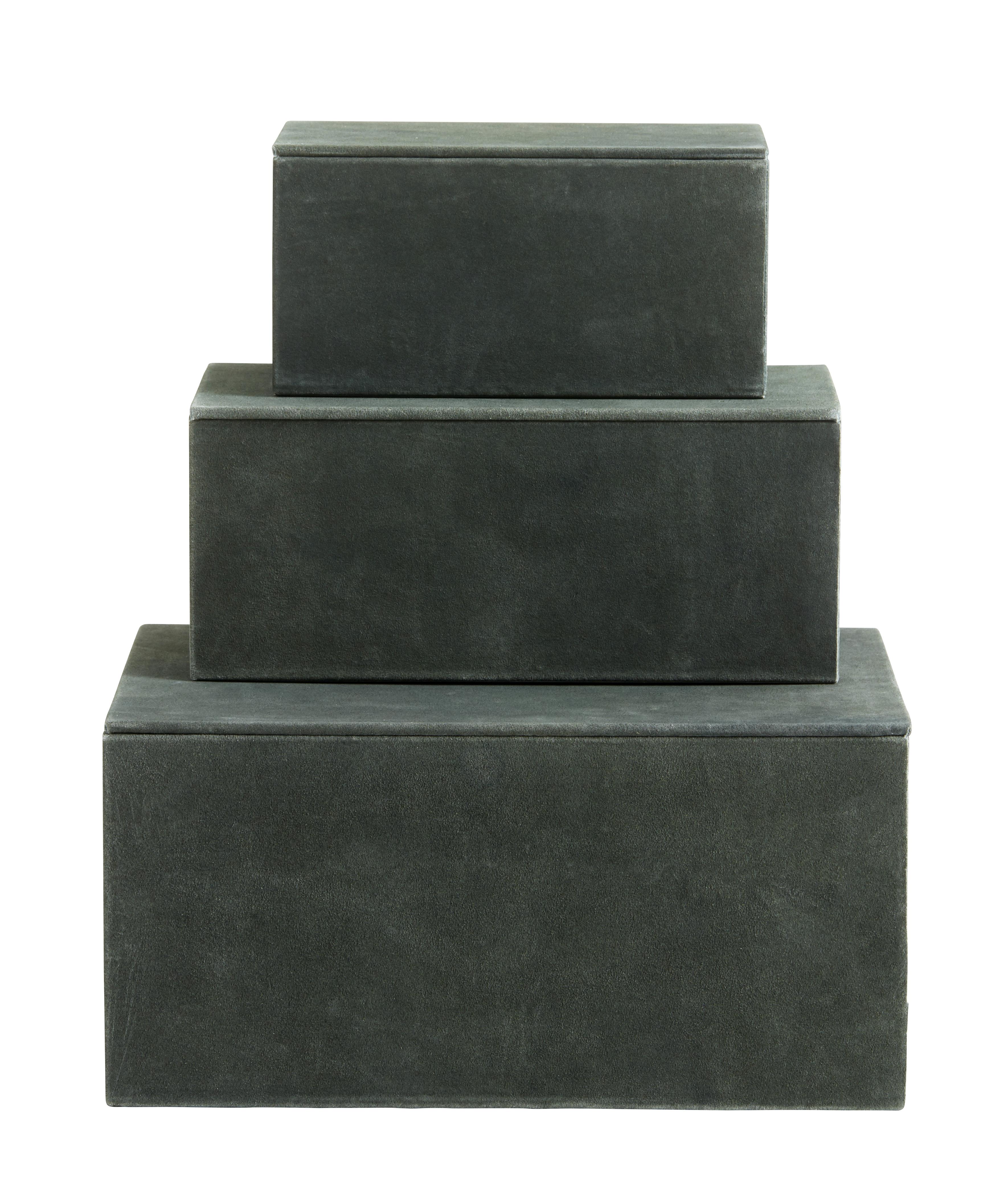 Box Grön Läder Set av 3