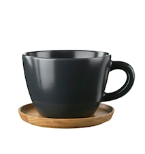 Tea mug 50cl with wooden saucer graphite