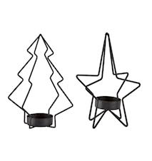 Ljushållare Metall Svart 2st 15x9,5cm