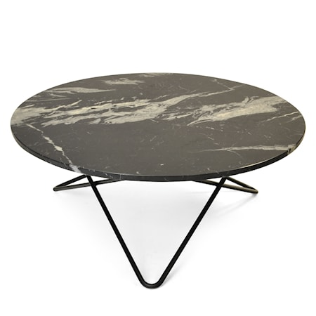 Large O Table Svart Marmor med Svart Ramme Ø100