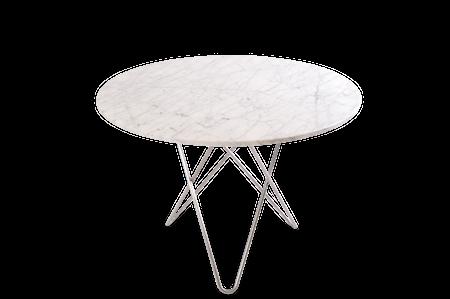 Large O Table Vit Marmor med Rostfri Stålram Ø100