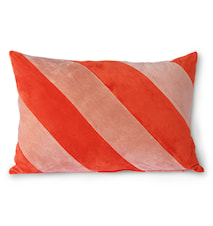 Striped Velvet Cushion Red/Pink 40x60 cm