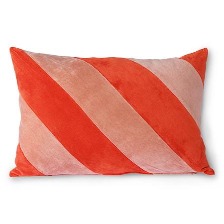 Striped Velvet Cushion Red/Pink 40x60 cm