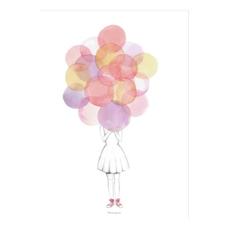 Plakat Rosa Ballong Papir 70x50cm