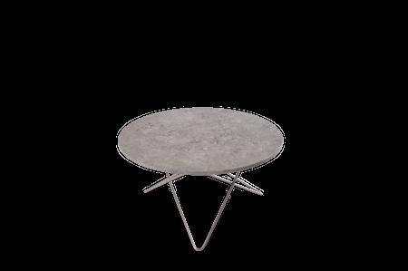 O Table Grå Marmor med Rostfri Stålram Ø80